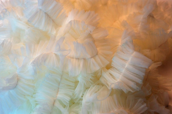 Ruffled Trim - Chiffon Ruffles - Handmade - 28 Yards -  RESERVED