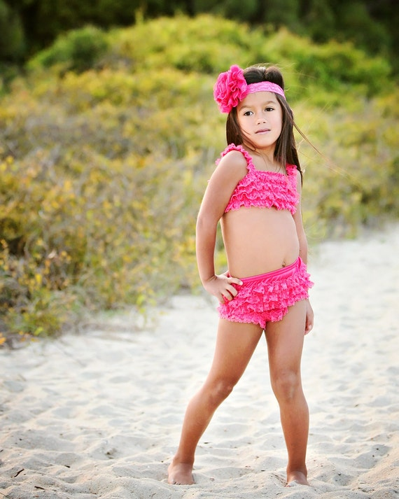 Ruffle Bikini Swimsuit by Dreamspun - Raspberry Pink