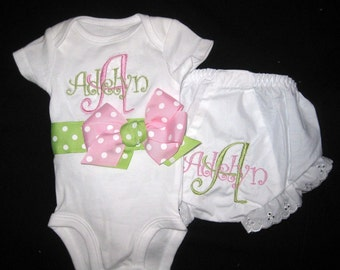 Monogrammed Bodysuit and Bloomers - Light Pink and Light Green
