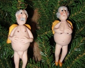 Elderly Angels Christmas Tree Ornaments...hand sculpted