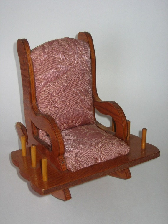 wooden rocking chair pin cushion spool holder by