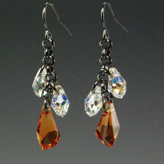 Stunning Topaz Polygon teardrop with Crystal AB Earrings