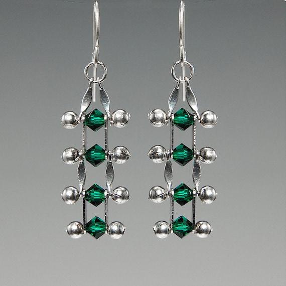 Emerald Swarovski crystal earrings