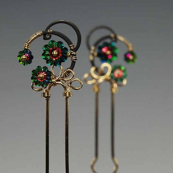 Wire wrapped industrial hair pins fascinator with vitrail medium Swarovski crystals