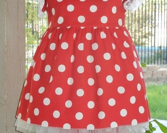 Minnie mouse dress.  Red and white polka dot Minnie Dress,  Birthday dress, Hallooween child outfit