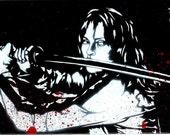 5X7 Kill Bill (Uma Thurman/Beatrix Kiddo) Stencil Graffiti Art