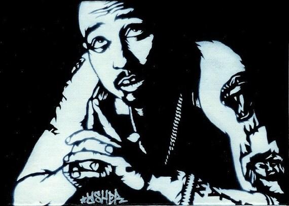 Items Similar To 5X7 Tupac Shakur Stencil Graffiti Art On Etsy