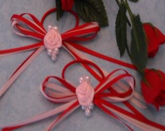 Valentine Hair Ties/Ribbon and Flower Hair Ties/Captivating Hair Ties