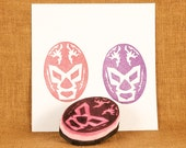 Lucha Libre Rubber Stamp - Hand Carved Rubber Stamp