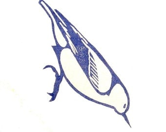 Nuthatch Stamp - Hand Carved Rubber Stamp