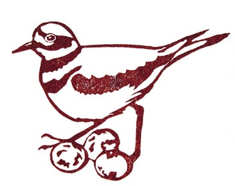 Killdeer Rubber Stamp - Hand Carved