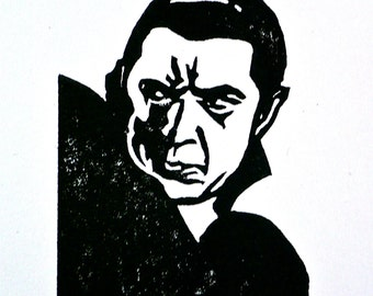 Dracula Rubber Stamp Hand Carved