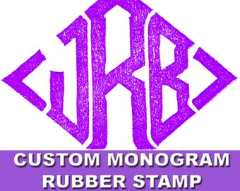 Custom Monogram Rubber Stamp Hand Carved