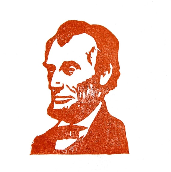 Abraham Lincoln Rubber Stamp - Hand Carved
