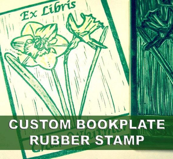 Custom Bookplate Stamp Hand Carved