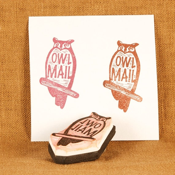 Owl Mail Rubber Stamp - Hand Carved Rubber Stamp