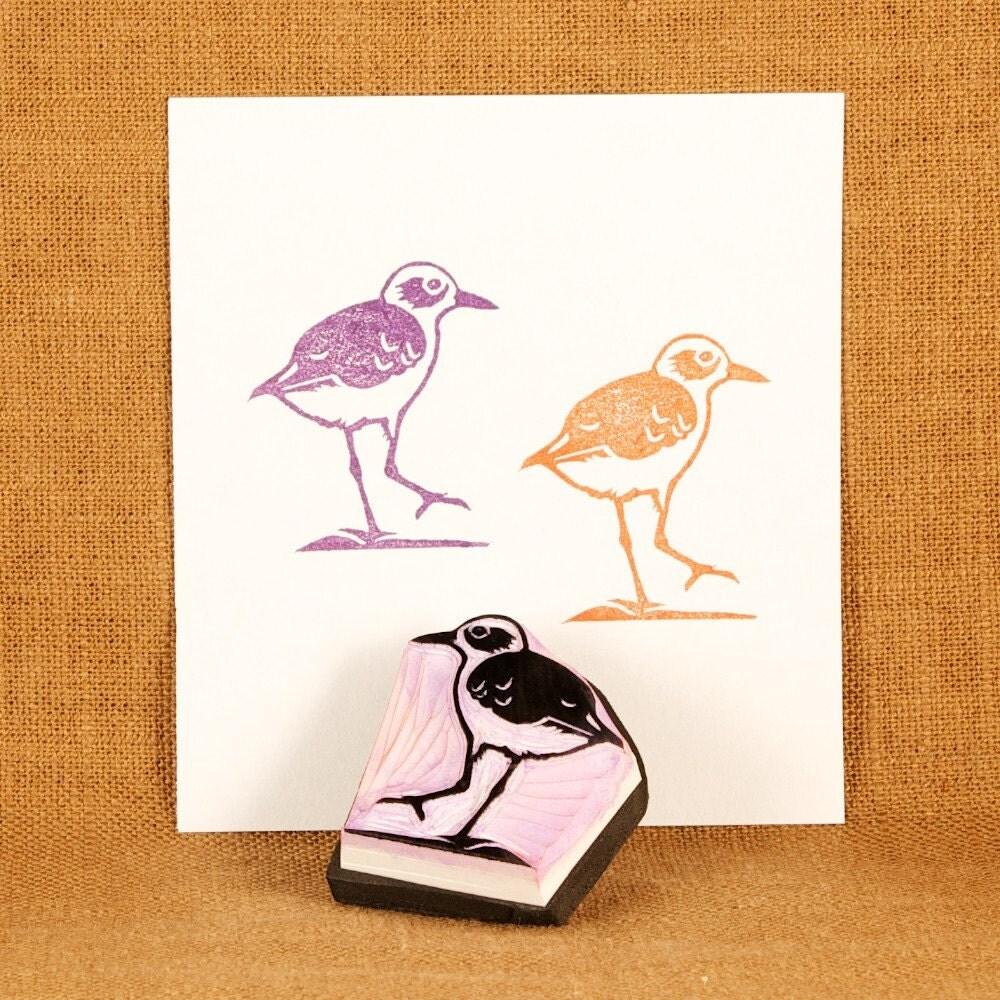 Shorebird rubber stamp hand carved by jackbear