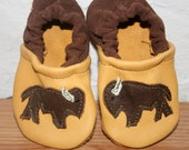12 to 18 months Bison Buffalo Soft Soled Leather Shoes