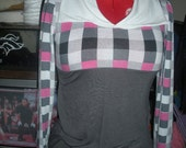 gray white plaid top  long sleeve free shipping in the usa