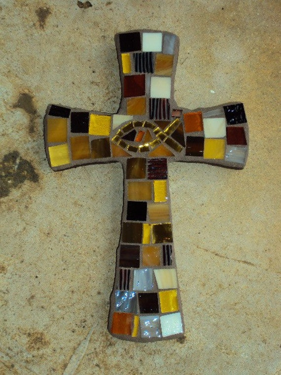 Brown Mosaic Cross with Gold Icthus Fish- small