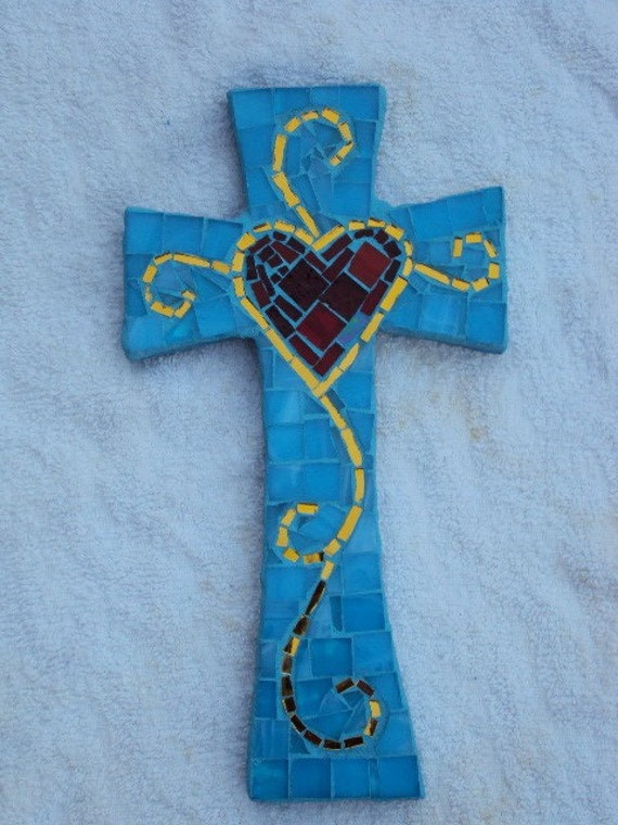 Medium Turquoise Cross with Heart in Center