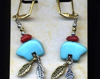 Turquoise and Coral Bear fetish earrings with gold and silver feather accents