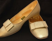 Vintage Gold Glitter Shimmery Slippers Shoes size 6 1/2