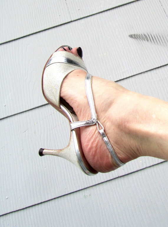 Resrved FOR Lea 1950s Silver A'mano Shoes Sling Backs