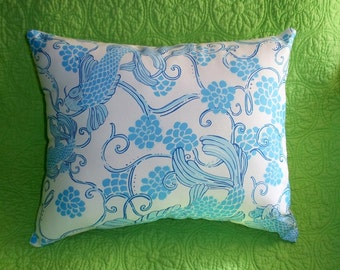 New Pillow made with Lilly Pulitzer Don't Be Koi fabric
