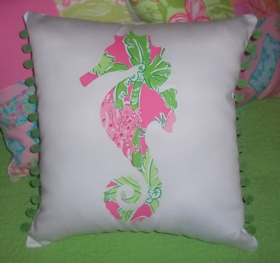 New custom Seahorse Pillow MW Lilly Pulitzer Taboo fabric