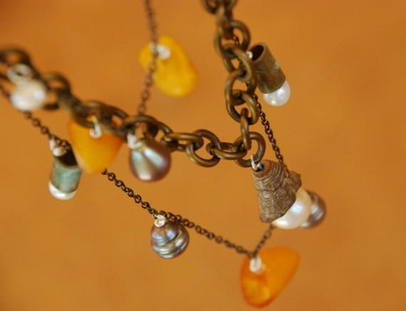shipwrecked necklace - chain, genuine pearls, vintage amber