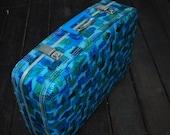 Multi-colored Blue Vintage Suitcase