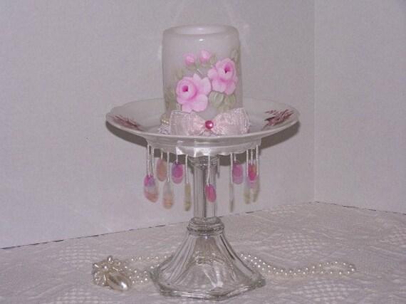 Pink Cupcake Dessert Stand Glass Pedestal Candle Stand