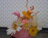 Vintage Style Birthday Decoration -  Tiny Ballerina with Pink Swan and Daisies