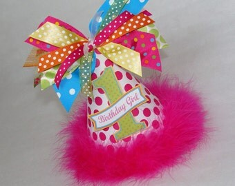 Hot Pink, Turquoise, Lime, Orange Polka Dot Rainbow Party Hat - Bright Rainbow Birthday Party