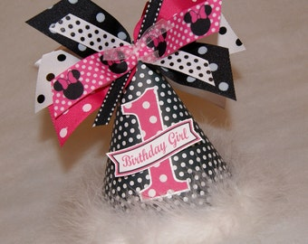 Black, White, and Hot Pink Minnie Mouse Polka Dot Party Hat
