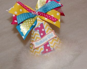 Yellow, Hot Pink, and Turquoise Chevron Zig Zag and Polka Dot Party Hat