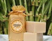 Patchouli Handmade Cold Process Soap Bar, 4oz-essential oil,hippie,pthalate free,gold,vegan,natural,organic sustainable palm oil,organza bag