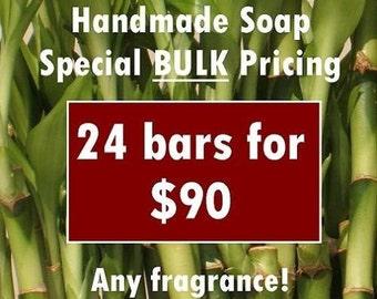 BULK Handmade Soap Bar Special 24 pack -Buy More,Save More- price break, discounted, assorted scents, fragrances, vegan, natural,organza bag