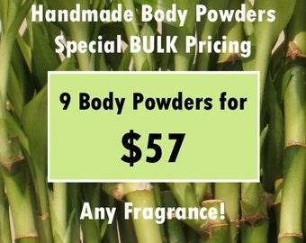 BULK Handmade Hair & Body Powder Special 9pk Pricing - Buy More, Save More - price break, discounted, assorted,no talc,talc-free,dry shampoo