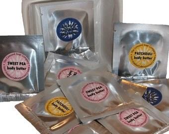 BULK Body Butter Sample - 50 pack - made with Shea Butter - trial, sample, travel,deep moisturizer,moisturizing,organic,foot cream,dry hands