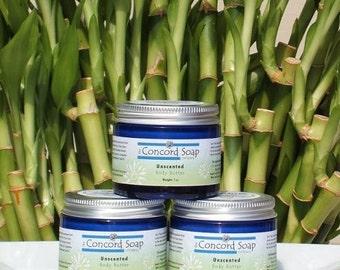 CLEARANCE - Unscented Handmade Body Butter 4oz - deep moisturizer, moisturizing, organic shea butter, foot cream, natural, fragrance free
