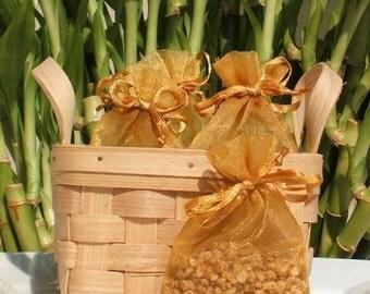 Apple Jack Handmade Sachet - cinnamon,food scent,gold organza bag,natural, scented,potpourri, fragrance, aromatherapy, wedding, shower favor