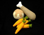 Felt Play Food - Thanksgiving Drumstick Dinner PDF Pattern (Chicken or Turkey Leg, Mashed Potatoes and Gravy, Baby Carrots