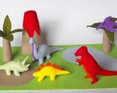 Felt Dinosaur Play Mat Tote PDF Pattern- Tyrannosaurus, Stegosaurus, Pterodactyl, Brontosaurus, Triceratops, Volcano, Palm Trees