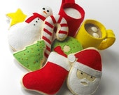 Felt Food Pattern- Christmas Cookies, Hot Cocoa and Milk (Santa, Wreath, Tree, Candy Cane, Snowman, Star, Stocking, Cocoa and Milk Mug)
