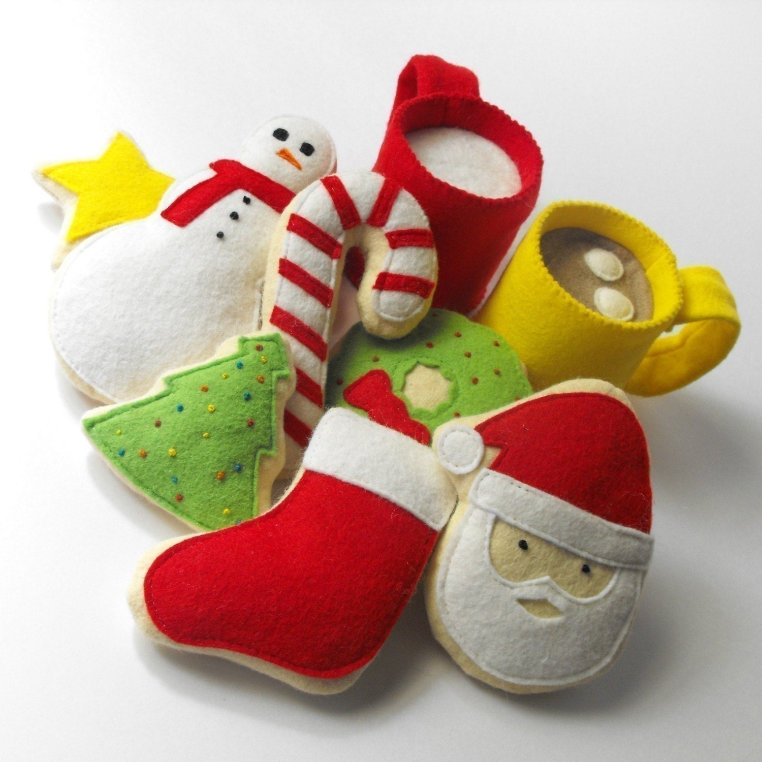 Felt Food Pattern Christmas Cookies Hot Cocoa And Milk