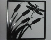Dragonfly in the Cat tails   - Metal art