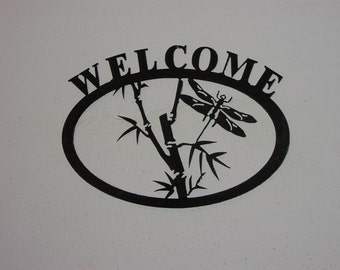 Dragonfly Welcome sign  - Metal art