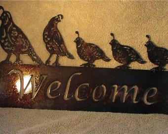 5 Quail Welcome sign  - Metal art - Custom Sign